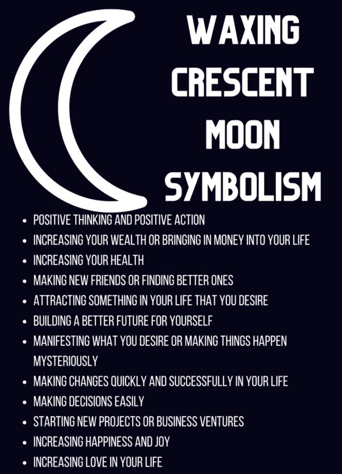 Waxing crescent moon symbolism.