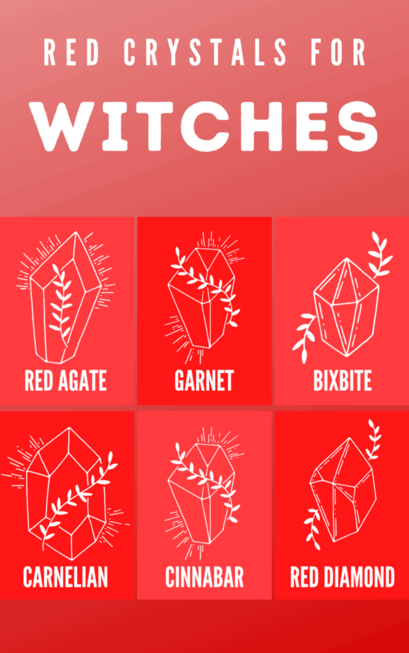 Red crystals for witches. Illustrated crystals.