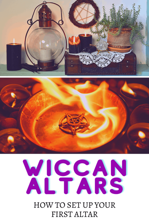 Your Wiccan altar: how to set up your first altar. Pentacles, candles, flames. A glass lantern and black candles. A white doily with a crystal ball, potted plant, and black candles on top of it. An old jewelry box. A pentacle wreath.