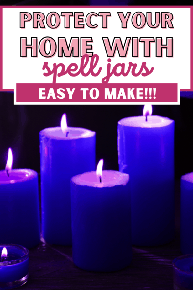 Protect your home with spell jars. Easy to make!!! Purple candles.