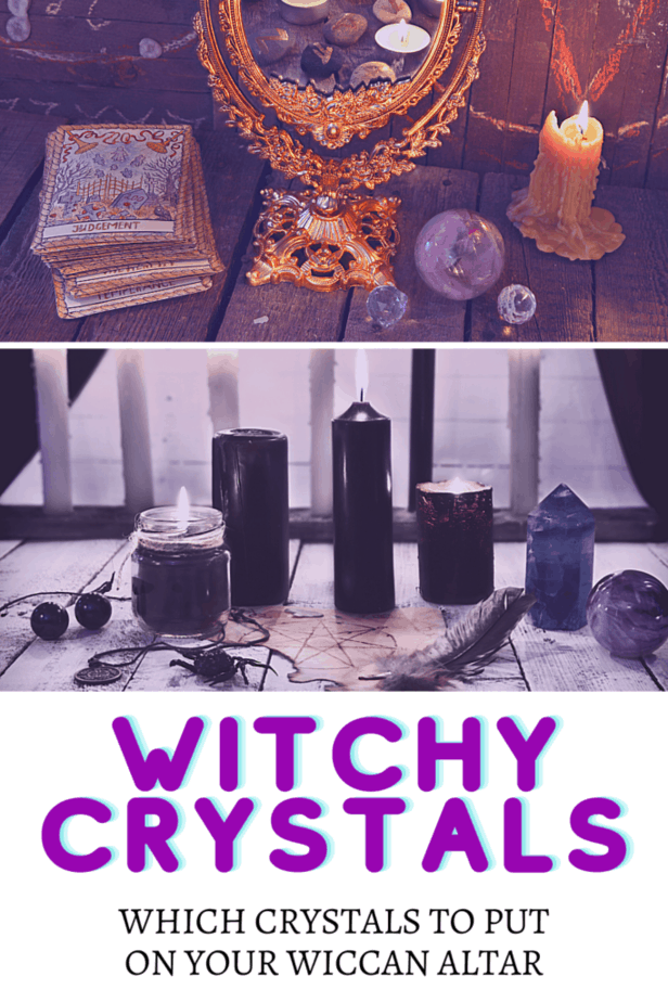 An ornate mirror. Occult symbols. The judgement tarot card. Crystal balls. A white candle. Black candles. Crystal towers. A feather. An occult coin necklace. Witchy crystals: which crystals to put on your Wiccan altar.