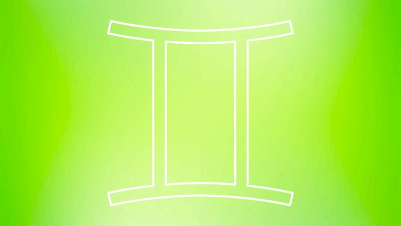 Gemini astrological symbol on a green gradient