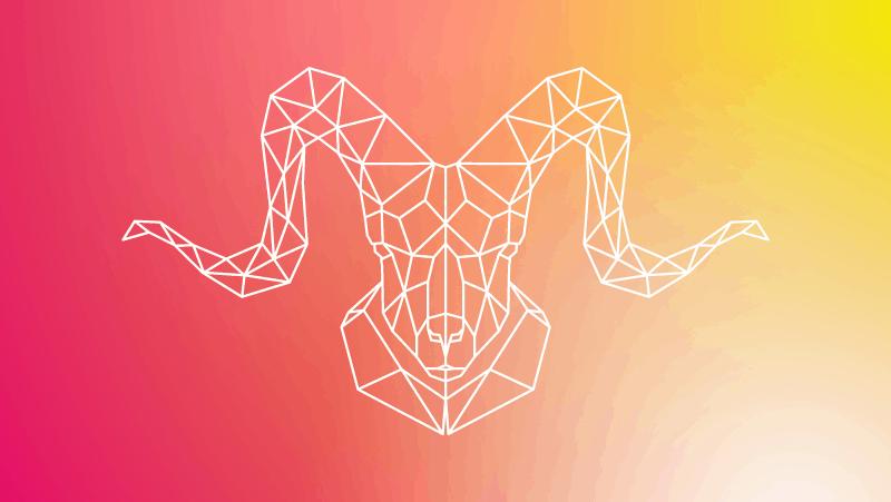 Geometric ram head on a red gradient
