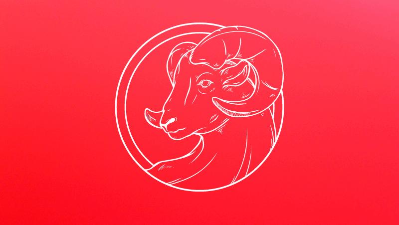 An Aries Sun ram head on a red gradient