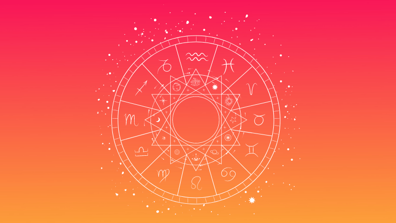 The zodiac wheels on a red gradient