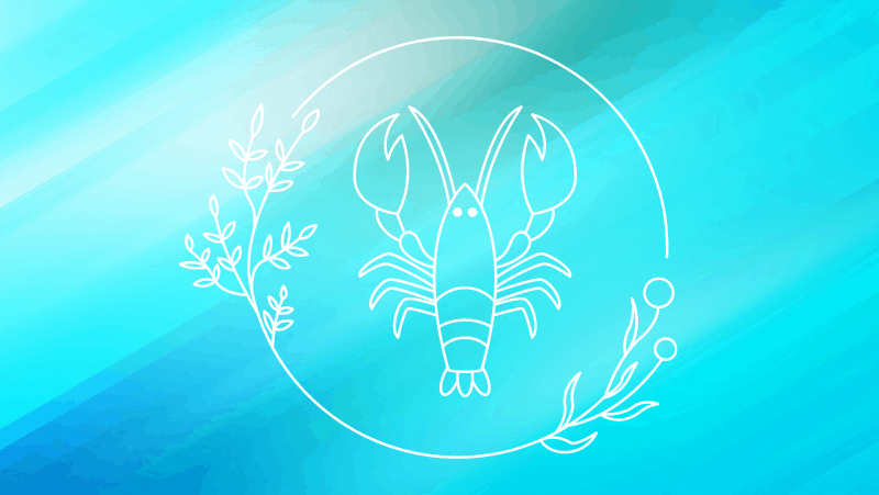 Lobster cancer sign on a cyan gradient background