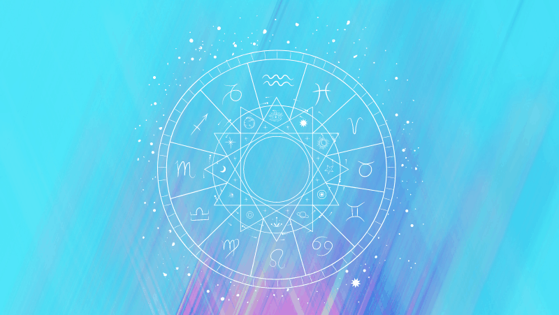 Astrology natal chart on a cyan gradient background