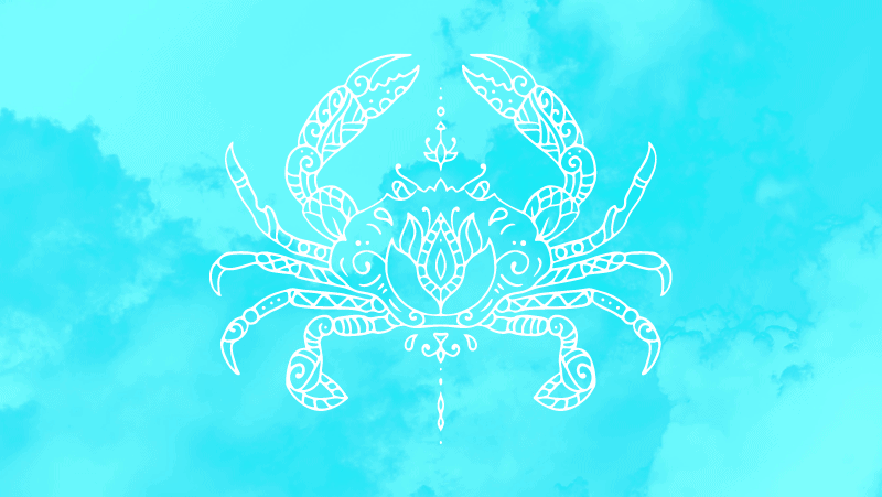 Crab cancer sign on a cyan gradient background