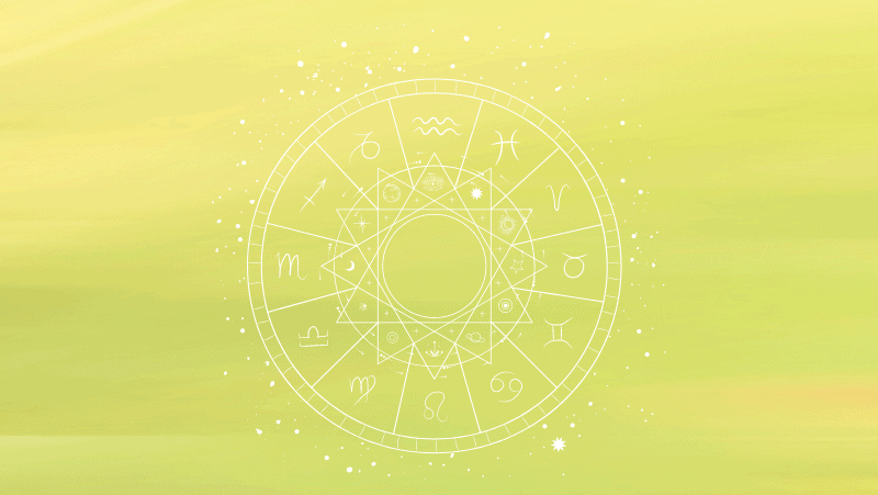Astrology chart circle on a green gradient