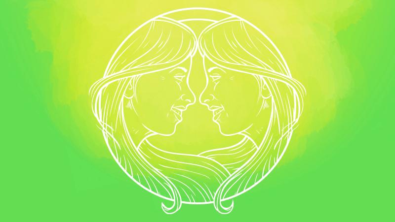 Gemini sun twins on a green gradient