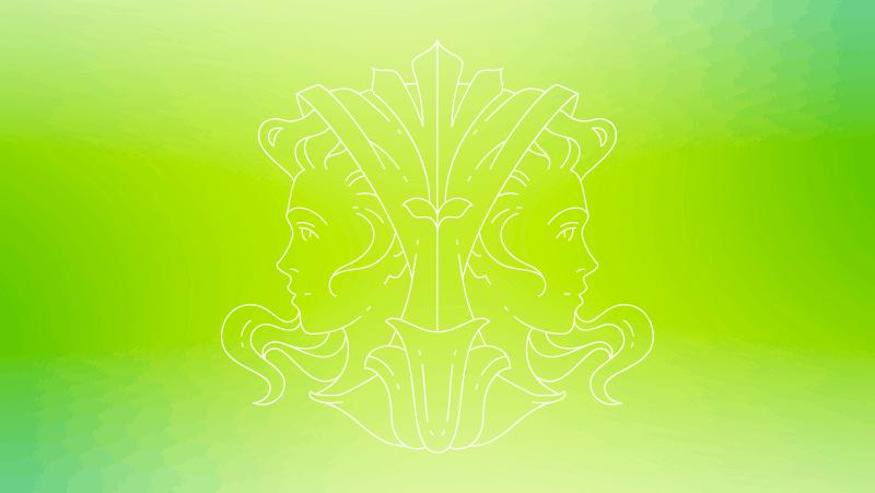 Gemini sun female twins on a green gradient