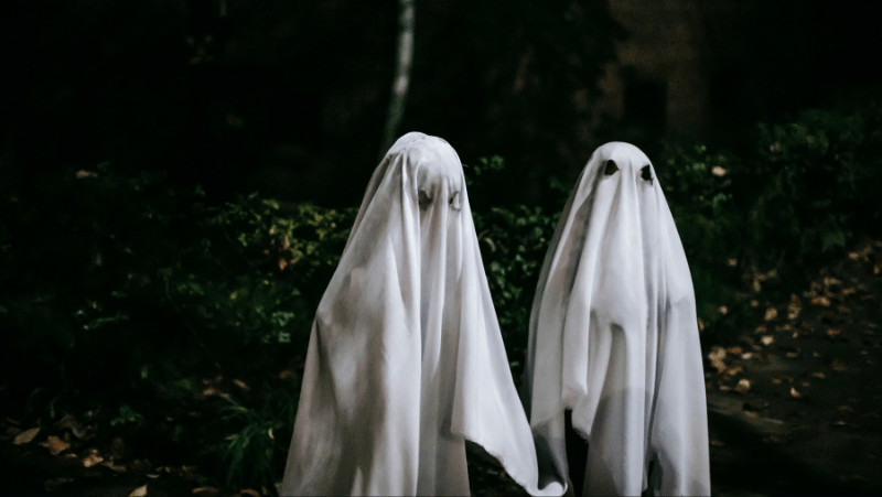 Two sheet ghosts out in nature