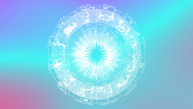 Astrological circle on a cyan gradient background