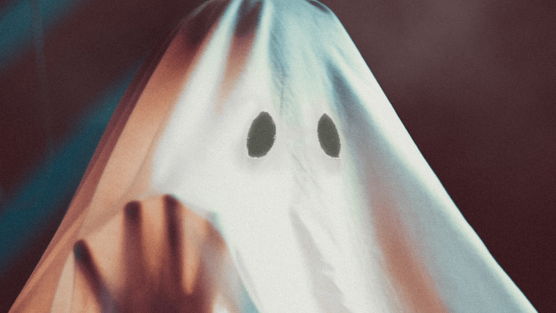 A ghost cut into a sheet