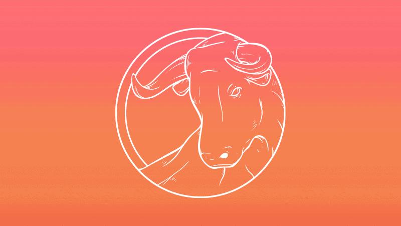 Taurus Sun bull head against a yellow orange gradient
