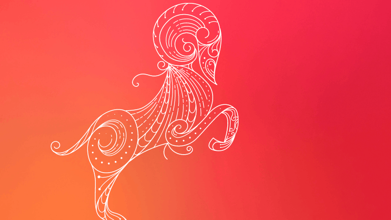 A ram up on its hind legs on a red gradient