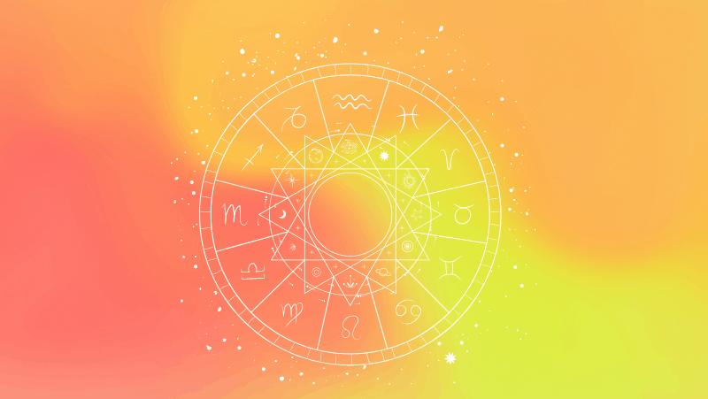 Natal chart against a yellow orange gradient