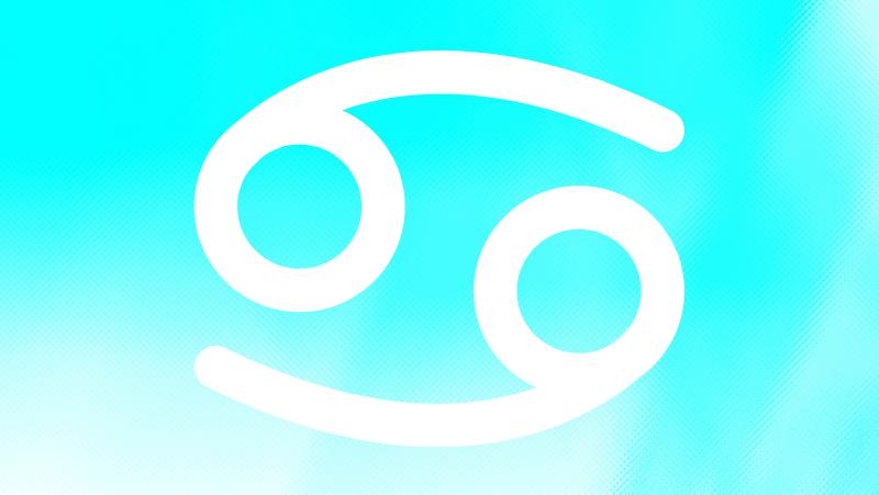 Cancer sun zodiac sign on a cyan gradient background