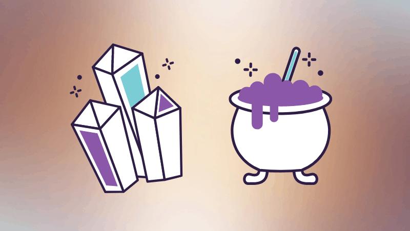 Crystal and cauldron