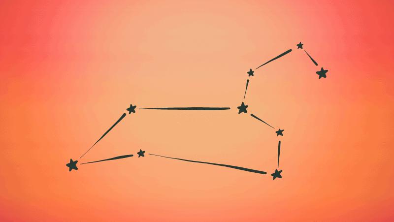Leo sun constellation on orange gradient background