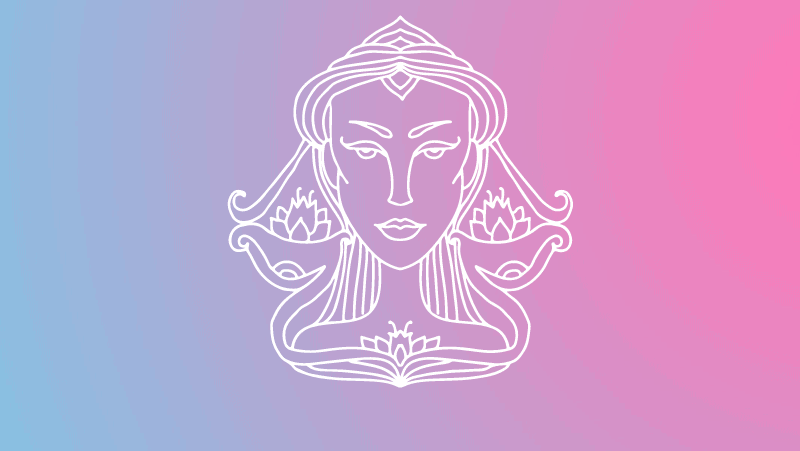 Woman head in the shape of Libra symbols on a pink and blue gradient for Libra sun in the natal chart