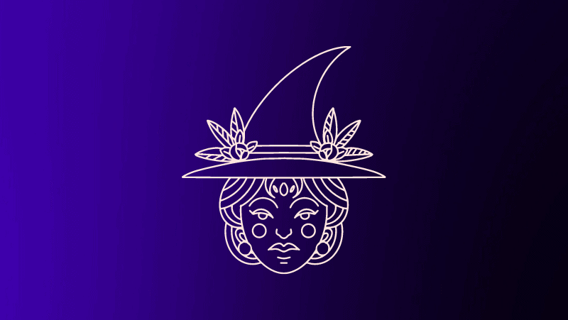 Witch with roses in hat