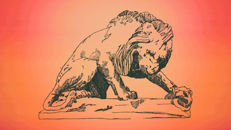 Vicious fierce lion on orange gradient background