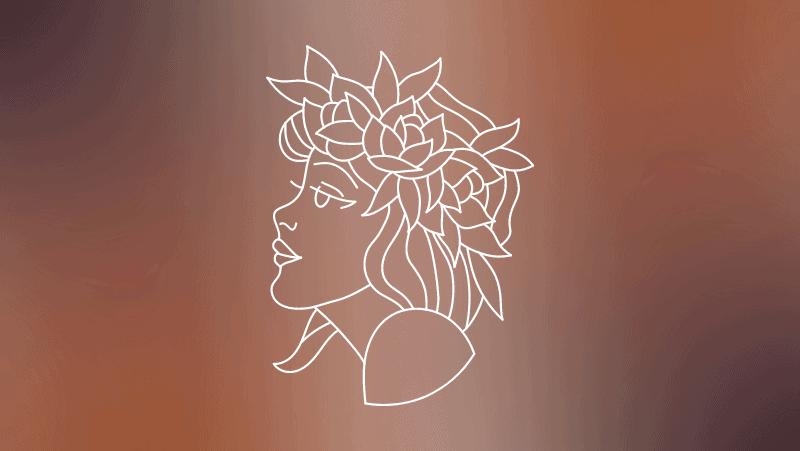 Virgo Greek myth woman on a brown gradient background