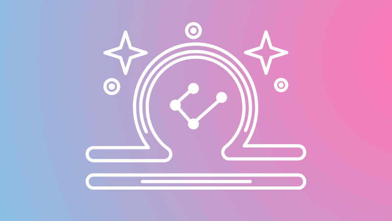 Libra symbol and constellation on a pink and blue gradient for Libra sun in the natal chart