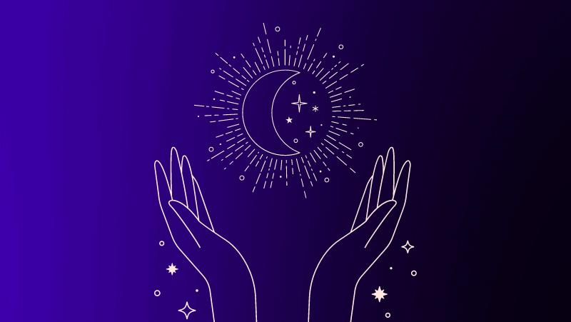 Crescent moon and two hands in worship