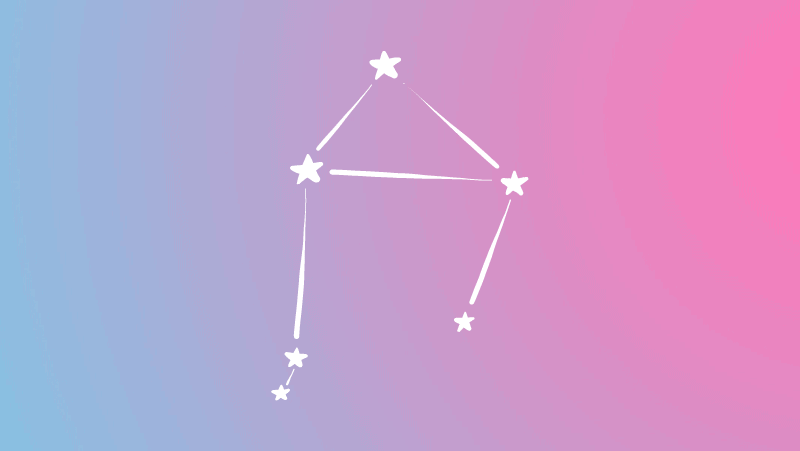 Libra constellation on a pink and blue gradient for Libra sun in the natal chart