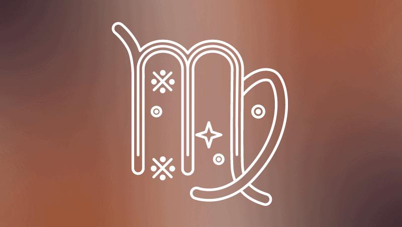 Virgo symbol on a brown gradient background