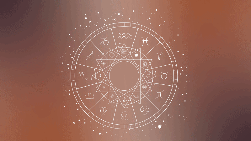 Astrology natal chart on a brown gradient background