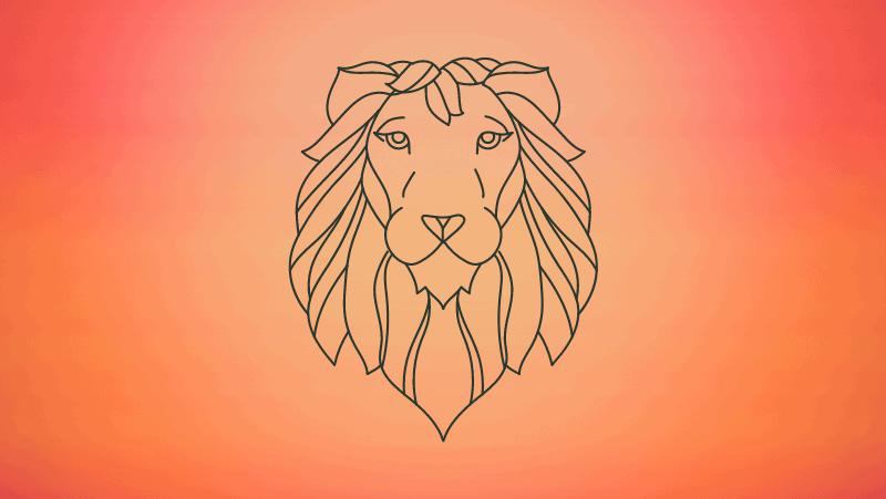 Geometric lion head on orange gradient background