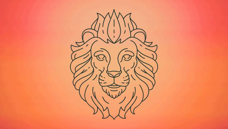 Lion head on orange gradient background