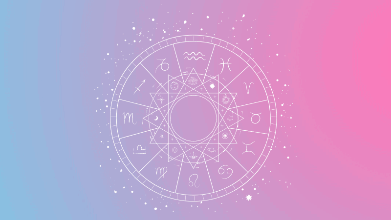 Astrology chart on a pink and blue gradient for Libra sun in the natal chart