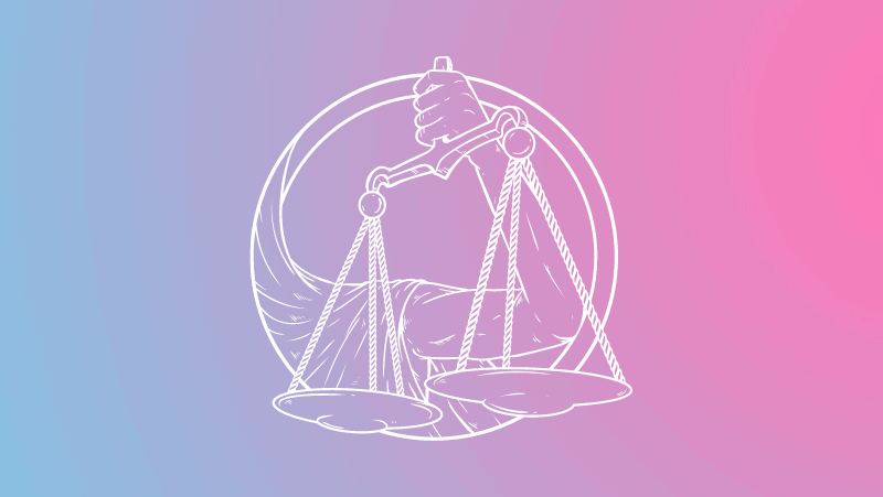 An arm holding scales on a pink and blue gradient for Libra sun in the natal chart