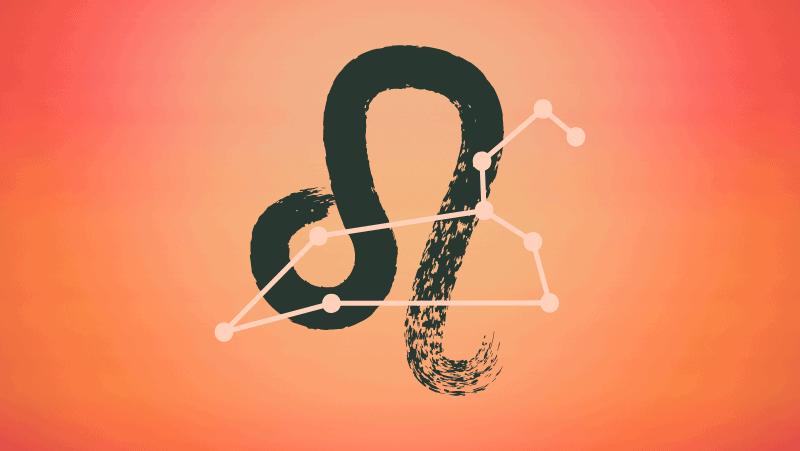 Leo symbol and constellation on orange gradient background