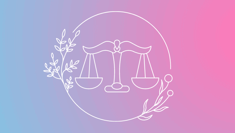 Scales and florals on a pink and blue gradient for Libra sun in the natal chart