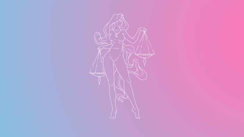 Woman holding scales on a pink and blue gradient for Libra sun in the natal chart