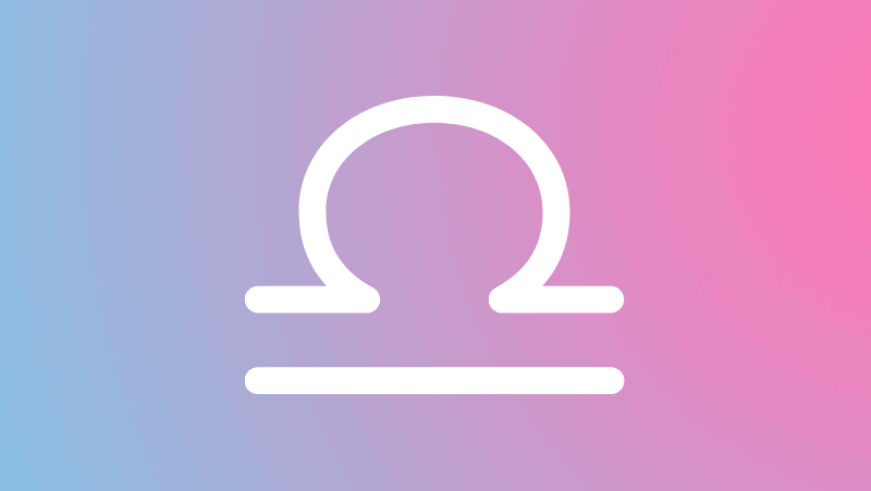 Libra symbol on a pink and blue gradient for Libra sun in the natal chart