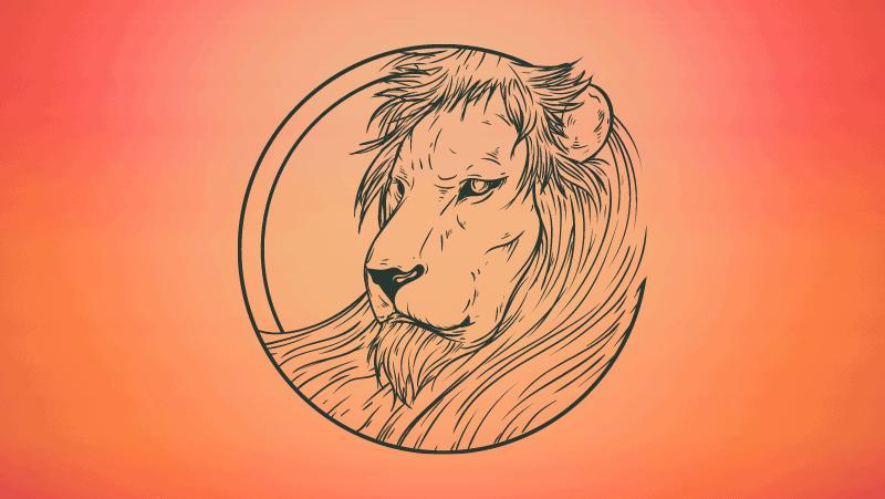 Leo lion on orange gradient background