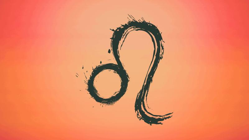 Leo symbol on orange gradient background