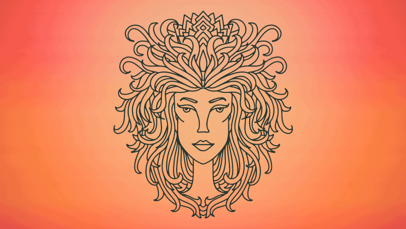 Leo woman on orange gradient background