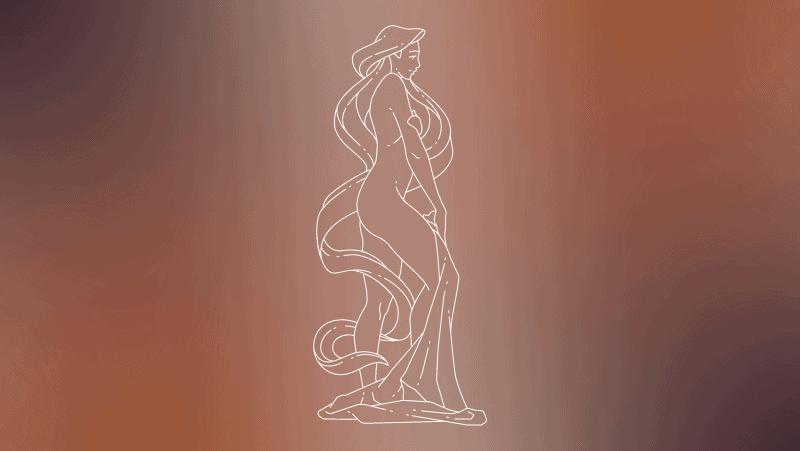 Virgo woman on a brown gradient background