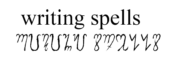 The Theban alphabet used to write writing spells